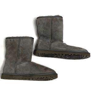 Ugg Grey Fuzzy Winter Snow Short Boot Shoes